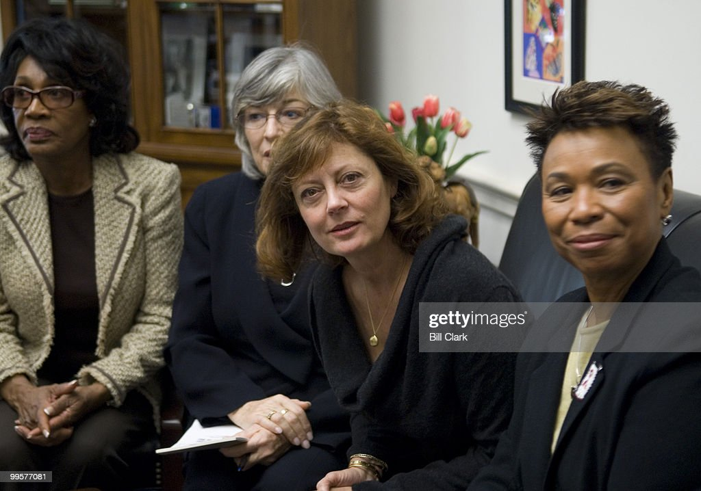 From left, Rep. Maxine Waters, D-Calif., Rep. Lynn Woolsey, D-Calif., actress Susan Sarandon and Rep. Barbara Lee, D-Calif., speak to the media following a closed door meeting with Iraq war veterans on the state of Veterans Affairs Department health care in Rep. Woolsey's Capitol Hill office Wednesday, Jan. 24, 2007. Also discussed was the 'Bring Our Troops Home and Sovereignty of Iraq Restoration Act.'