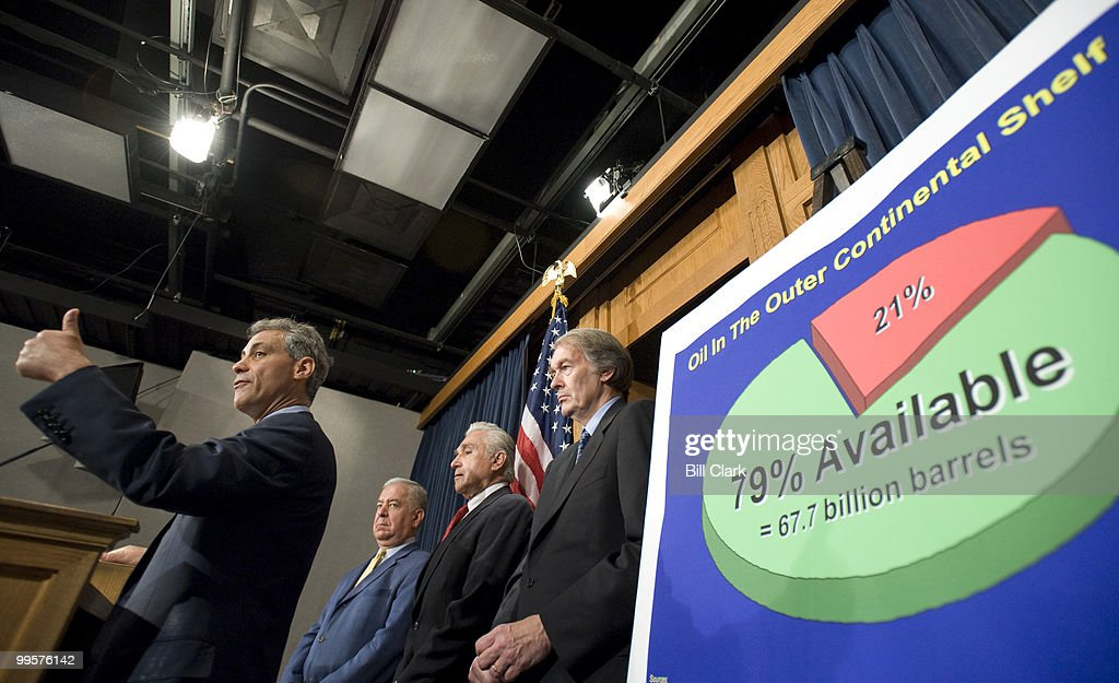From left, Rep. Rahm Emanuel, D-Ill., Rep. Nick Rayhall, D- W.Va., Rep. Maurice Hinchey, D-N.Y., and Rep. Ed Markey, D-Mass., participate in the news conference on off-shore oil drilling on Wednesday, June 18, 2008.