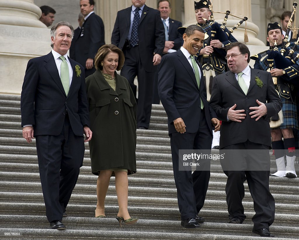 From left, Rep. Richard Neal, D-Mass., Speaker of the House Nancy Pelosi, D-Calif., President Barack Obama and Irish Taoiseach Brian Cowen walk down the East Front Steps of the Capitol following the Annual St. Patrick's Day Luncheon on Tuesday, March 17, 2009.