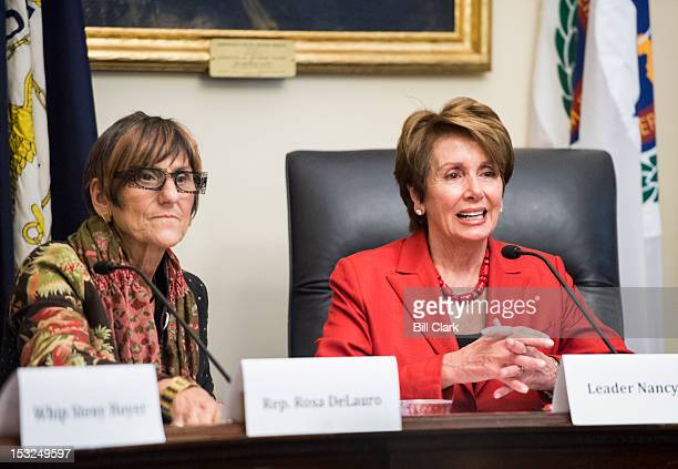 From left Rep Rosa DeLauro DConn and House Minority Leader Nancy Pelosi DCalif participate in the House Democratic Steering and Policy Committee...