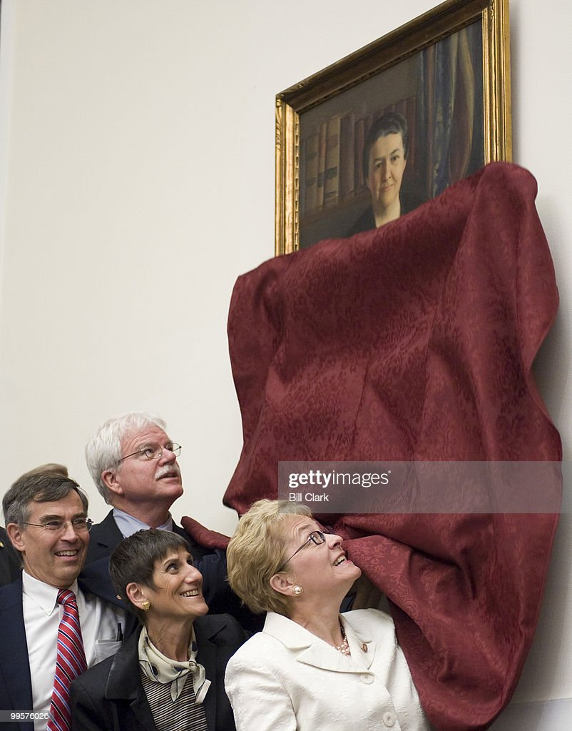 From left, Rep. Rush Holt, D-N.J., chairman George Miller, D-Calif., Rep. Rosa DeLauro, R-Conn., and Rep. Marcy Kaptur,D-Ohio, participate in the portrait unveiling for former Rep. Mary Norton, former Chair of the House Labor Committee, in the House Education and Labor Committee hearing room on Thursday, July 24, 2008.