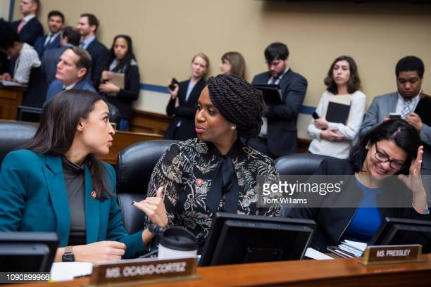 From left Reps Alexandria OcasioCortez DNY Ayanna Pressley DMass and Rashida Tlaib DMich attend a House Oversight and Reform Committee business...