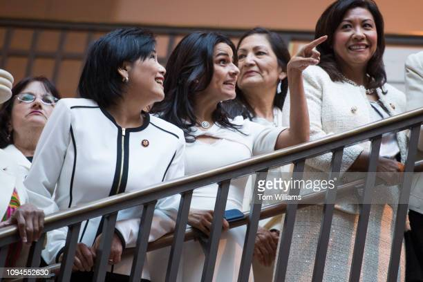 From left Reps Ann McLane Kuster DNH Judy Chu DCalif Nanette Barragan DCalif Deb Haaland DNM and Norma Torres DCalif prepare for a group photo of...