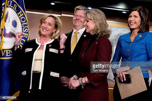 From left Reps Ann Wagner RMo Randy Hultgren RIll Renee Ellmers RNC and Kristi Noem RSD attend a news conference in the Capitol Visitor Center on...
