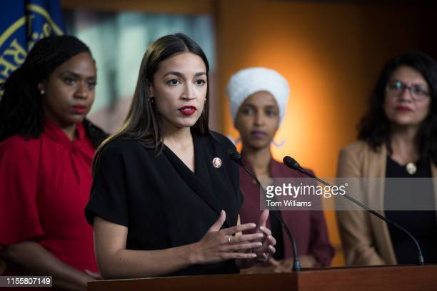 From left Reps Ayanna Pressley DMass Alexandria OcasioCortez DNY Ilhan Omar DMinn and Rashida Tlaib DMich conduct a news conference in the Capitol...