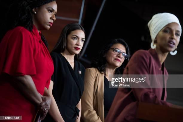 From left, Reps. Ayanna Pressley, D-Mass., Alexandria Ocasio-Cortez, D-N.Y., Rashida Tlaib, D-Mass., and Ilhan Omar, D-Minn., conduct a news...