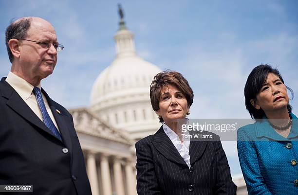 From left Reps Brad Sherman DCalif Anna Eshoo DCalif and Judy Chu DCalif attend a news conference at the House triangle on the dangers faced by...