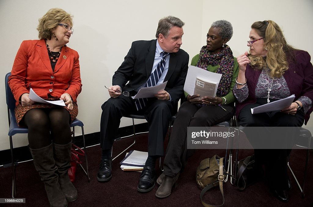 From left, Reps. Diane Black, R-Tenn., Chris Smith, R-N.J., Linda Shrewsbury and Olivia Gans Turner, both of Americans Victims of Abortion, prepare for a news conference in Rayburn Building to mark the 40th anniversary of the Roe v. Wade Supreme Court decision that made abortion legal. The group is anti-abortion.