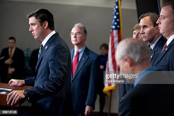From left Reps Duncan Hunter RCalif Tom Price RGa John Fleming RLa Pete Olson RTexas Tom Rooney RFla and Rep Mike Coffman RLa lower right attend a...