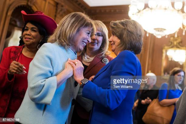 From left Reps Frederica Wilson DFla Jackie Speier DCalif former Rep Gabrielle Giffords DAriz and House Minority Leader Nancy Pelosi DCalif attend a...
