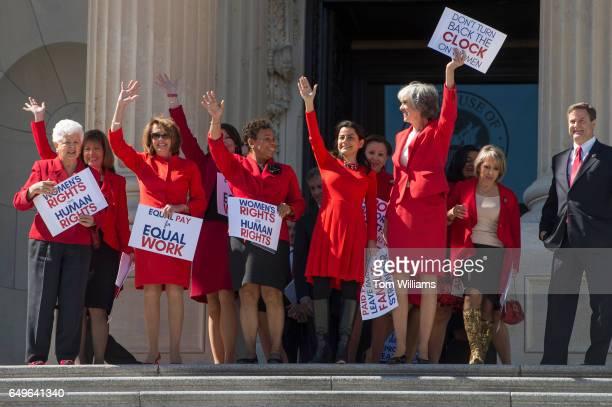 From left Reps Grace Napolitano DCalif Jackie Speier DCalif House Minority Leader Nancy Pelosi DCalif Cheri Bustos DIll Barbara Lee DCalif Nanette...
