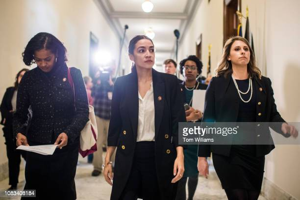 From left Reps Jahana Hayes DConn Alexandria OcasioCortez DNY Lauren Underwood DIll and Katie Hill DCalif are seen after delivering a letter to the...