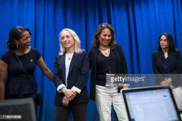 From left Reps Jahana Hayes DConn Mary Gay Scanlon DPa Veronica Escobar DTexas and Alexandria OcasioCortez DNY talk with the media at the House...