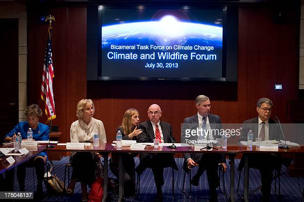 From left Reps Jan Schakowsky DIll Lois Capps DCalif an aide Henry Waxman DCalif Sens Sheldon Whithouse DRI and Al Franken DMinn conduct a forum in...