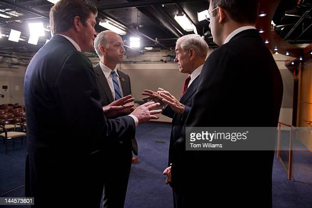 From left Reps John Garamendi DCalif Adam Smith DWash Ron Paul RTexas and Justin Amash RMich talk after a news conference in the Capitol Visitor...