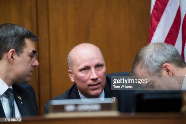 From left, Reps. Justin Amash, R-Mich., Chip Roy, R-Texas, and ranking member Rep. Jim Jordan, R-Ohio, are seen during a House Oversight and Reform...