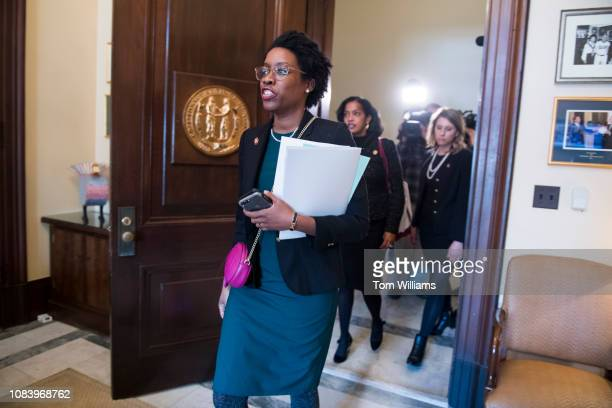 From left Reps Lauren Underwood DIll Jahana Hayes DConn and Katie Hill DCalif arrive to the Russell Building office of Senate Majority Leader Mitch...