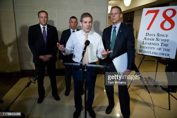 From left Reps Lee Zeldin RNY Kelly Armstrong RND Jim Jordan ROhio and Scott Perry RPa conduct a news conference in the Capitol Visitor Center...