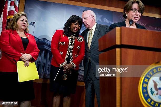 From left Reps Linda Sanchez DCalif Terri Sewell DAla Sen Patrick Leahy DVt and Sen Amy Klobuchar DMinn attend a news conference in the Capitol to...
