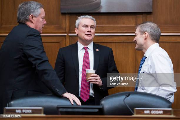 From left Reps Mark Meadows RNC James Comer RKy and ranking member Rep Jim Jordan ROhio right are seen during a House Oversight and Reform Committee...