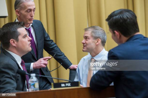 From left Reps Matt Gaetz RFla Trey Gowdy RSC Jim Jordan ROhio and Mike Johnson RLa attend a House Judiciary Committee hearing in Rayburn Building on...
