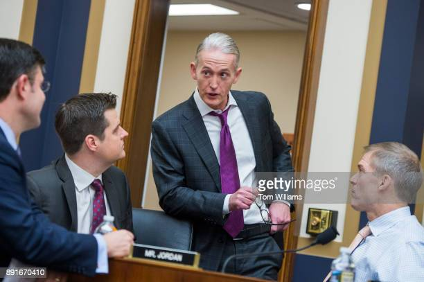 From left Reps Mike Johnson RLa Matt Gaetz RFla Trey Gowdy RSC and Jim Jordan ROhio attend a House Judiciary Committee hearing in Rayburn Building on...