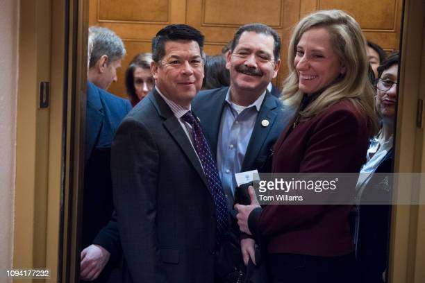 From left Reps TJ Cox DCalif Jesus 'Chuy' Garcia DIll and Abigail Spanberger DVa leave a meeting of the House Democratic Caucus in the Capitol on...