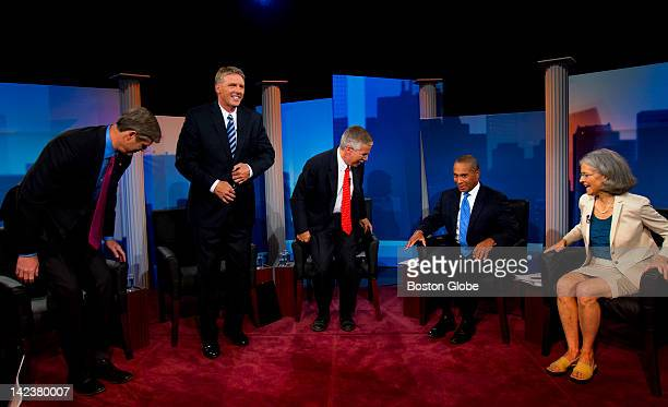 From left Republican candidate Charles Baker independent candidate Timothy Cahill moderator and political analyst Jon Keller Massachusetts governor...