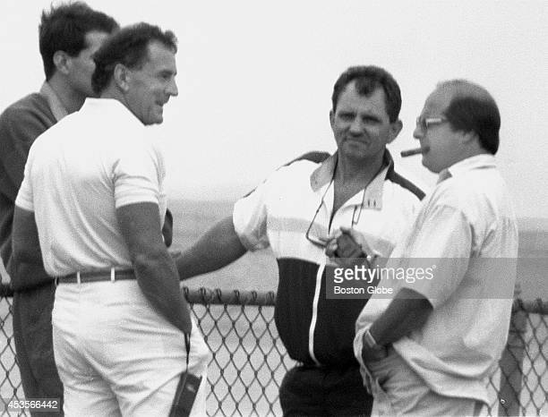 From left reputed organized crime figures Darin 'Nino' Bufalino Francis P Salemme Charles Garabedian and Robert DeLuca are seen meeting for nearly an...