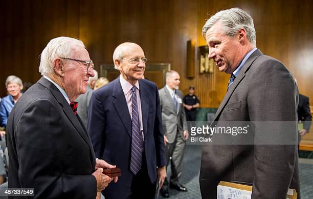 From left Retired Supreme Court Justice John Paul Stevens Supreme Court Justice Stephen Breyer and Sen Sheldon Whitehouse DRI talk following Stevens...