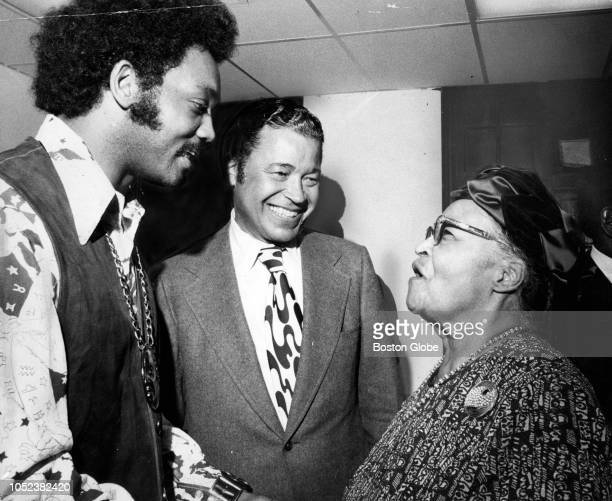 From left, Rev. Jesse Jackson, U.S. Senator Edward Brooke and civil rights activist Melnea Cass stand together during a Congressional Black Caucus...
