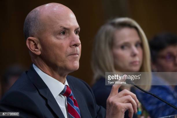 From left Richard Smith former CEO of Equifax Marissa Mayer former CEO of Yahoo and Karen Zacharia deputy general counsel and chief privacy officer...