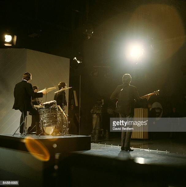 From left, Ringo Starr , John Lennon, George Harrison and Paul McCartney of English rock and pop group The Beatles perform together on stage for the...