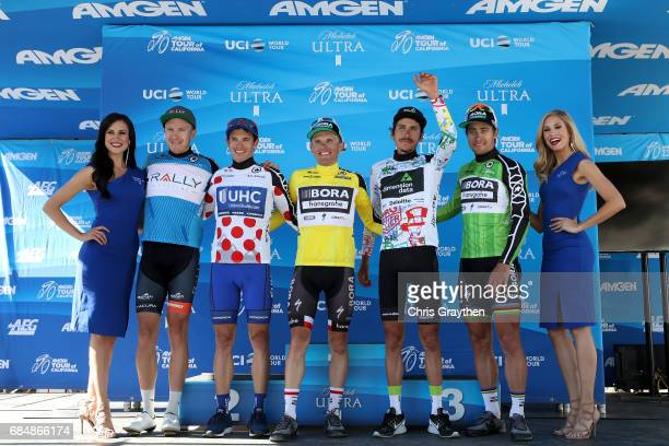 From left Rob Britton of Canada riding for Rally Cycling in the AMGEN Breakaway Most Courageous rider jersey Daniel Alexander Jaramillo of Colombia...