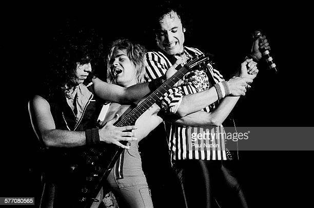 From left Rock musicians Frankie Banali Carlos Cavazo and Kevin DuBrow all of the band Quiet Riot perform onstage Des Moines Iowa August 20 1984