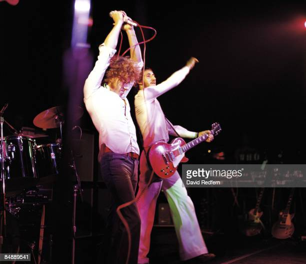 From left, Roger Daltrey and Pete Townshend of rock group The Who perform live on stage at The Lyceum Theatre in London during the Quadrophenia tour...