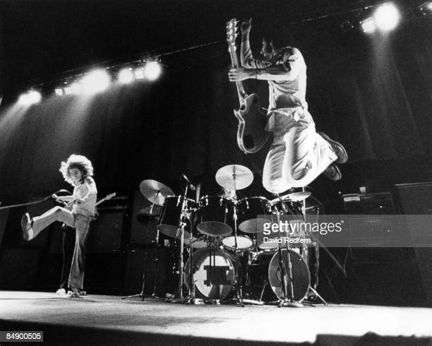ODEON Photo of The Who and Roger DALTREY and Pete TOWNSHEND Roger Daltrey and Pete Townshend performing on stage during the Quadrophenia Tour jumping