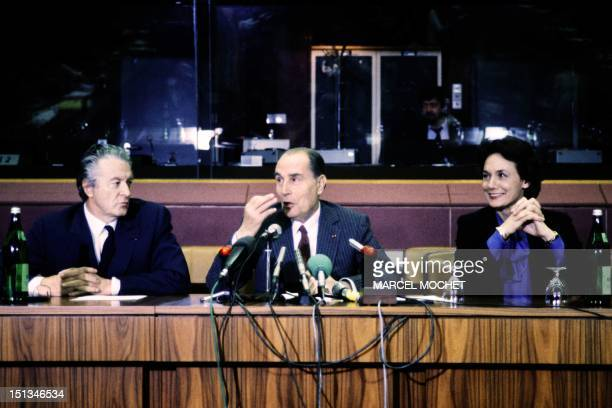 Roland Dumas French Foreign Minister French President François Mitterrand and Catherine Lalumiere secretary of State in charge of European affairs...