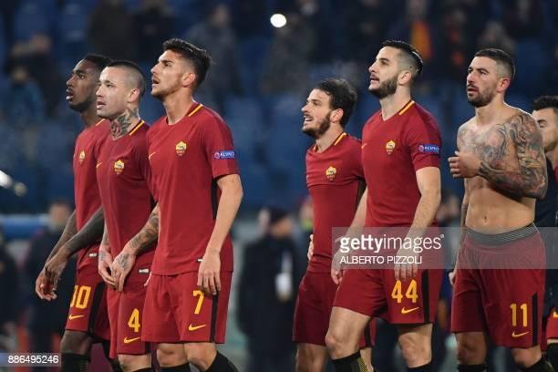 Roma's Brazilian midfielder Gerson Roma's Belgian midfielder Radja Nainggolan Roma's Italian midfielder Lorenzo Pellegrini Roma's Italian midfielder...