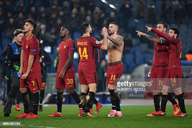 Roma's Italian midfielder Lorenzo Pellegrini Roma's Brazilian midfielder Gerson Roma's Greek defender Kostas Manolas Roma's Croatian defender...