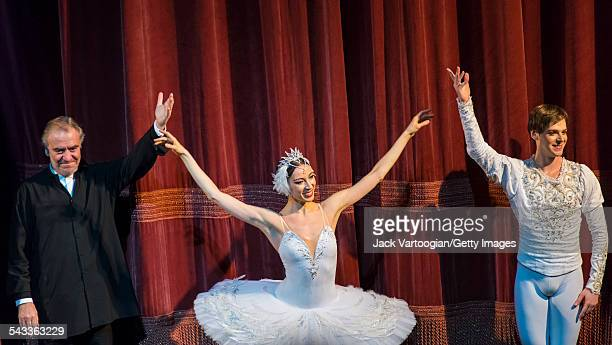 From left Russian musical director and conductor Valery Gergiev and dancers Viktoria Tereshkina and Vladimir Shklyarov take a bow at the conclusion...
