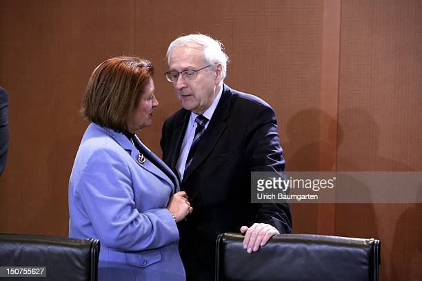 GERMANY BERLIN from left Sabine LEUTHEUSSER SCHNARRENBERGER Federal Minister of Justice and Rainer BRUEDERLE Federal Minister for Economics and...