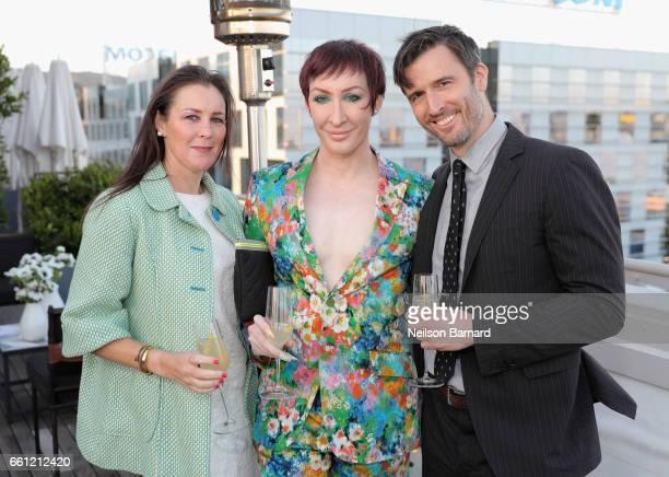 From left Sarah Frisch Celebrity Drag Queen Matthew Sanderson aka Detox Icunt and Ketel One Vodka Perfect Pour bartender Garrett McKechnie attend a...