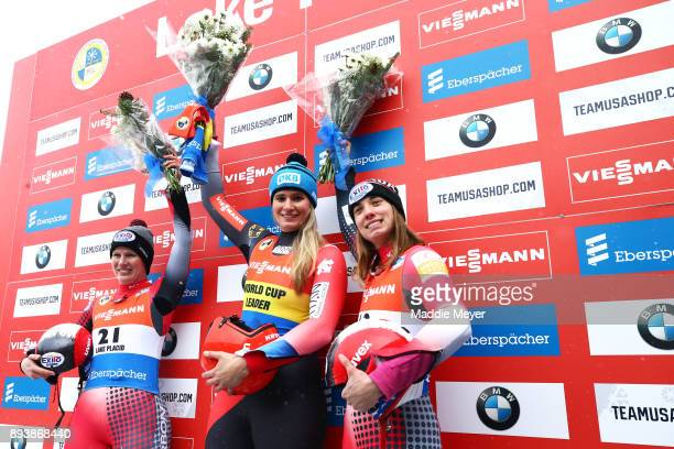 From left second place finisher Alex Gough of Canada first place finisher Natalie Geisenberger of Germany and third place finisher Kimberley McRae of...