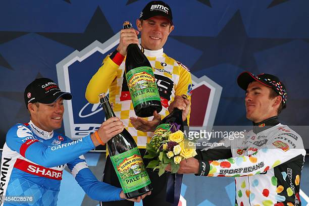 From left second place Tom Danielson of the United States riding for Garmin Sharp stage winner Tejay van Garderen of the United States riding for the...