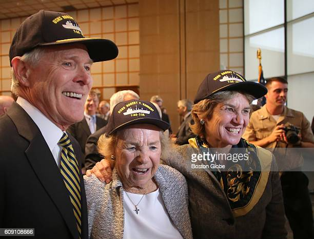 From left Secretary of the Navy Ray Mabus Ethel Kennedy and Kathleen Kennedy Townsend Ethel Kennedys daughter wear hats during a ceremony to announce...