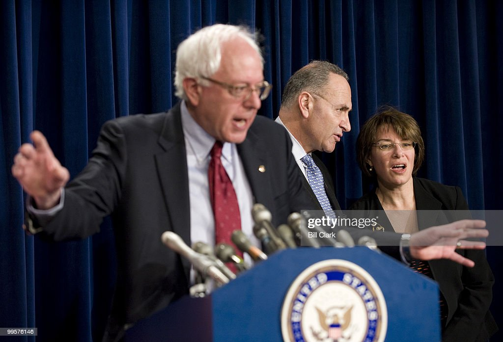 From left, Sen. Bernie Sanders, I-Vt., Sen. Charles Schumer, D-N.Y., and Sen. Amy Klobuchar, D-Minn., participate in a news conference in the Senate Radio/TV Gallery studio on OPEC oil production on Thursday, April 24, 2008.