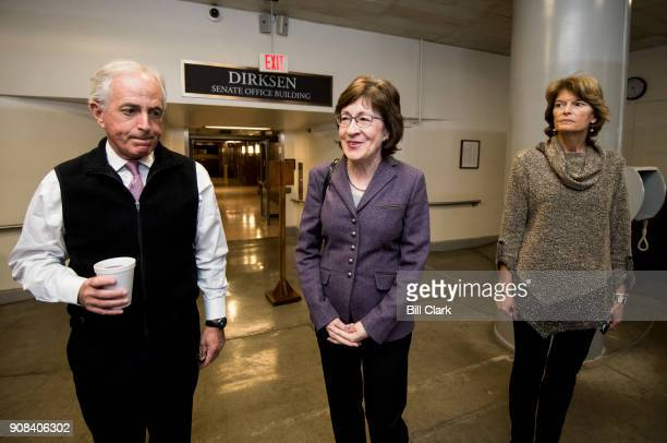 From left Sen Bob Corker RTenn Sen Susan Collins RMaine and Sen Lisa Murkowski RAlaska make their way to Senate Leader McConnell's office after...