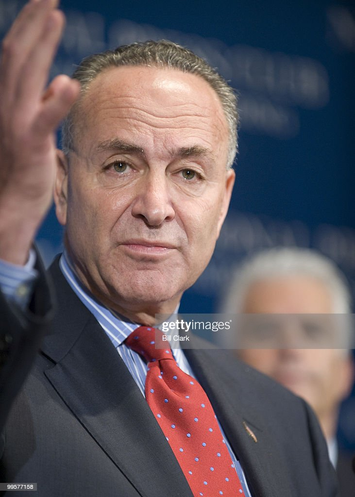 From left, Sen. Charles Schumer, D-N.Y., chairman of the Democratic Senatorial Campaign Committee, and Sen. John Ensign, R-Nev., chairman of the National Republican Senatorial Committee, speak about the 2008 U.S. Senate races at the National Press Club on Tuesday, Oct. 21, 2008.