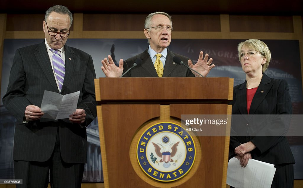 From left, Sen. Charles Schumer, D-N.Y., Senate Majority Leader Harry Reid, D-Nev., left, and Sen. Patty Murray participate in a news conference on Wednesday, Feb. 25, 2009, reacting to President Obama's address to Congress the night before.